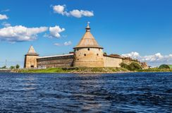 Historical fortress Oreshek is an ancient Russian fortress stock photo