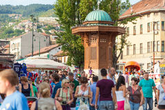 Historical fount in Sarajevo. SARAJEVO, BOSNIA - AUGUST 13, 2012: Historical fount on the square in the center of Sarajevo on August 13, 2012 in Sarajevo, Bosnia Stock Images