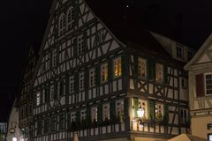 Historical framework facades with details at november night Stock Images