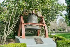 Historical France gift bronze bell. At Sacramento State Capital Park Stock Image