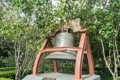Historical France gift bronze bell. At Sacramento State Capital Park Royalty Free Stock Photo