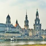 Historical Front of buildings in Dresden Stock Photos