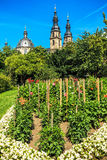 Historical Fulda, Dahlia Garden with cathedral towers, Germany Stock Photography