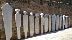 Historical funeral stones - hierarchy order. Visit Museum in Larnaka, Cyprus Royalty Free Stock Photography
