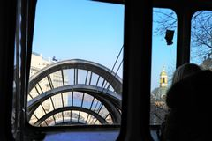 View of the Kiev funicular leading from the hill to the riverfront. stock photography
