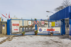 Historical gate of the Gdansk Shipyard, Poland Stock Image