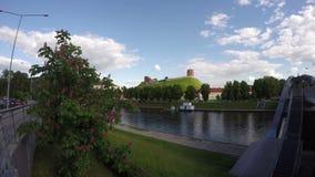 Historical Gediminas hill, Neris river and bridge, Vilnius, Lithuania. Timelapse 4K stock footage