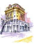 historical Georgia building. Savannah drawing stock photo