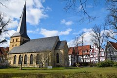 Historical german church in spring time Royalty Free Stock Photo