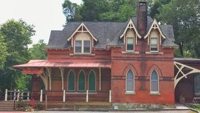 Historical Glen Mills Train Station  - USA. An antique rural station on Pennsylvanias West Cheater line (Queen Anne Gothic style, believed to be designed by Stock Photos