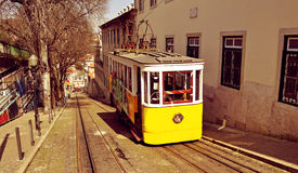 Historical Gloria Funicular in Lisbon, Portugal Stock Images
