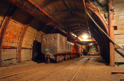 Historical gold, silver, copper mine. With wagon royalty free stock photography