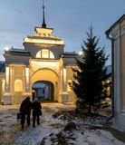 Historical shopping arcades Gostiny Dvor at night. Historical Gostiny Dvor in Suzdal at night. An ancient arch in the shopping arcades with night illumination Stock Photography
