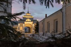 Historical shopping arcades Gostiny Dvor at night. Historical Gostiny Dvor in Suzdal at night. An ancient arch in the shopping arcades with night illumination Stock Image