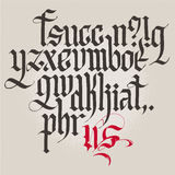 Historical Gothic handwriting alphabet. Lowercase. Royalty Free Stock Image