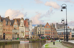 Historical Graslei harbor , Ghent Stock Photo