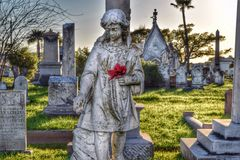 Historical gravestones. Beautiful display of a grave monument in Galveston , Texas Royalty Free Stock Photo