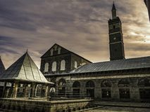Historical great mosque in the center of diyarbakir, turkey. Historical great mosque with cloudy sky in the center of diyarbakir, turkey stock photos