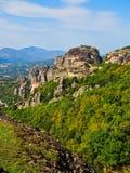 Historical Greek Orthodox Monasteries, Meteora, Greece. Several monasteries on a rugged mountain at Meteora, Kalambaka, Greece. Includes the small 16th century royalty free stock photos