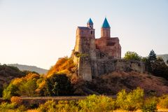 Historical Gremi fortress in Kakheti region at sunset, Georgia. Historical Gremi fortress in Kakheti region at sunset, Country of Georgia Royalty Free Stock Images