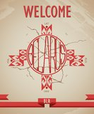 Historical, grunge poster welcome to Belarus with Royalty Free Stock Photography