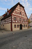 Historical half timber house in Kolpingstrasse 7 in Hilpoltstein, Germany. It is a listed monument.  stock images