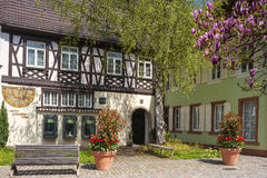 The historical half-timbered house Palace of Gebele Stock Images