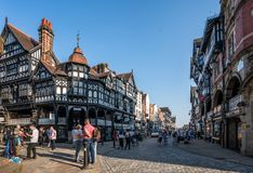 Historical half-timbered town of Chester showing chester rows in summer. royalty free stock photo