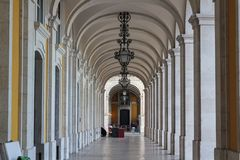 Historical Hallway with columns royalty free stock image