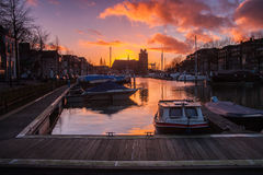 Historical harbor of dordrecht Stock Photography