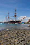 Historical harbour and ship in Portsmouth Royalty Free Stock Photo