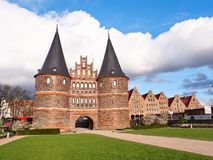 Historical Holstentor City Gate in Lubeck. View at sunny day. Germany stock image