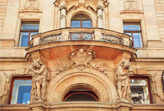 Historical house with balcony in vintage style, Prague Stock Image