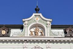 Historical house facade in Kromeriz,world heritage Royalty Free Stock Photo