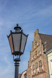 Historical house and lantern in the old center of Kalkar Royalty Free Stock Image