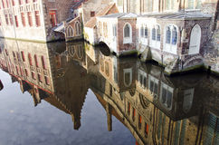 Historical house reflections in Brugge Royalty Free Stock Image