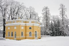 Historical house in winter park. A horizontal picture Stock Photos