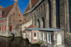 Historical houses along the canal (Bruges) Stock Photos