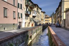 Historical canal in Lucca, Italy