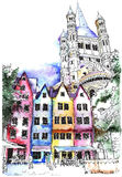 Historical houses in Cologne, Germany. Royalty Free Stock Image