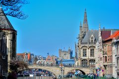 Historical houses and crowd in Ghent. Royalty Free Stock Images
