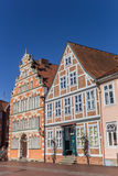 Historical houses at the quay of the old harbor of Stade Stock Photography