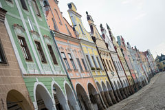 Historical houses in Telc, Czech Republic Stock Photos