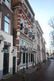 Historical houses in the westhaven in the city of Gouda.  Royalty Free Stock Photo