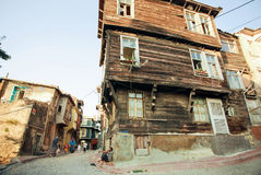 Historical houses with wooden walls in poor area of turkish capital Stock Photo