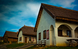 Historical Hungarian peasant houses. Reconstructed hungarian peasant houses with thatch Royalty Free Stock Photography