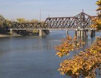 Historical I Street Bridge in Sacramento, California. Sacramento River and I Street Bridge in Sacramento, California stock image