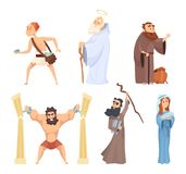 Historical illustrations of christian characters of holy bible. Vector noah and virgin mary, judah and moses stock illustration