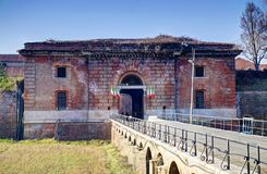Historical italian barracks. Old red military building in Italy Stock Photo