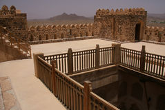 Historical Jabrin Castle, Oman. A restored historical fort in Oman known for its whimsical nature and hidden rooms royalty free stock photo